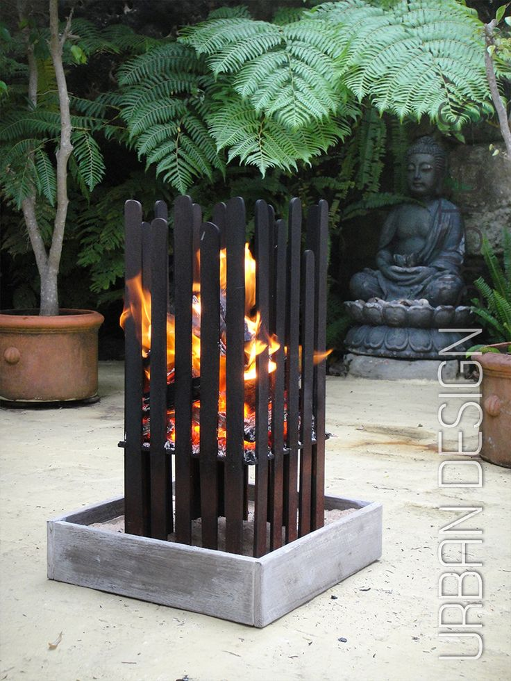 Laser cut brazier with tray (weathering steel)