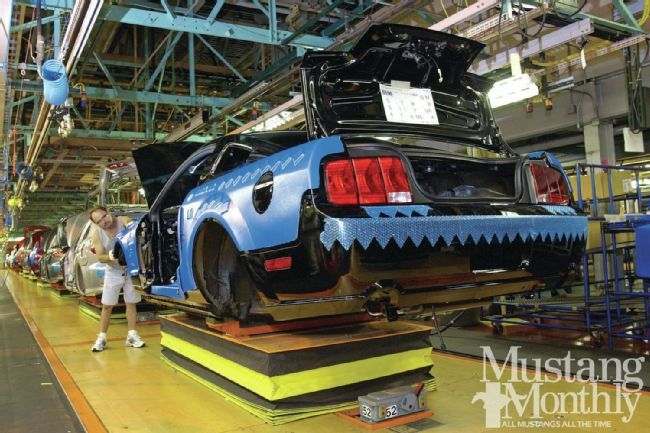2005 Mustang assembly - To build the '05 Mustang, Ford moved production to the new AutoAlliance plant in Flat Rock, just south of Dearborn. The Dearborn Assembly Plant, which had built Mustangs since 1964, was updated for building F-Series trucks.