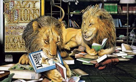 """Here we have the """"Lazy lions lounging in the local library"""" from Graeme Base's 'Animalia', perhaps his best-known work to date. Illustrated by such intricate images similar to this example, all of his books are entertaining and challenging to explore."""