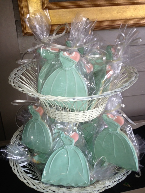 Bridesmaids Luncheon Favor mint dress cookies dress cookies