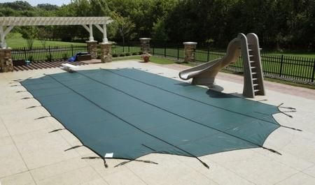 WS555G Solid Winter Cover 16' x 40' Pool Size 5x5 ft. Strap Grid in Green