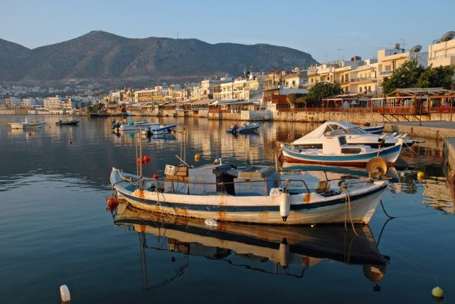 the scenic town of Chersonissos #boat #sea #crete #greece
