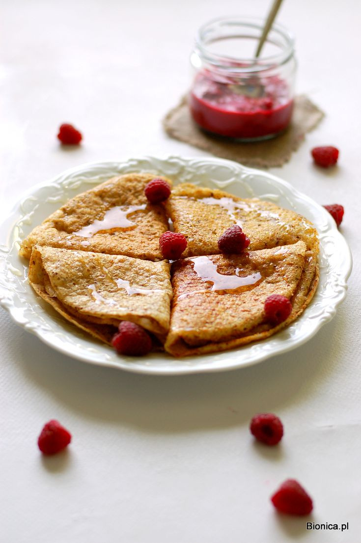 millet and quinoa pancakes with apples and raspberries