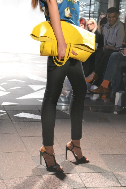 Yellow Celine tote @ Harvey Nichols Leeds SS13 fashion show
