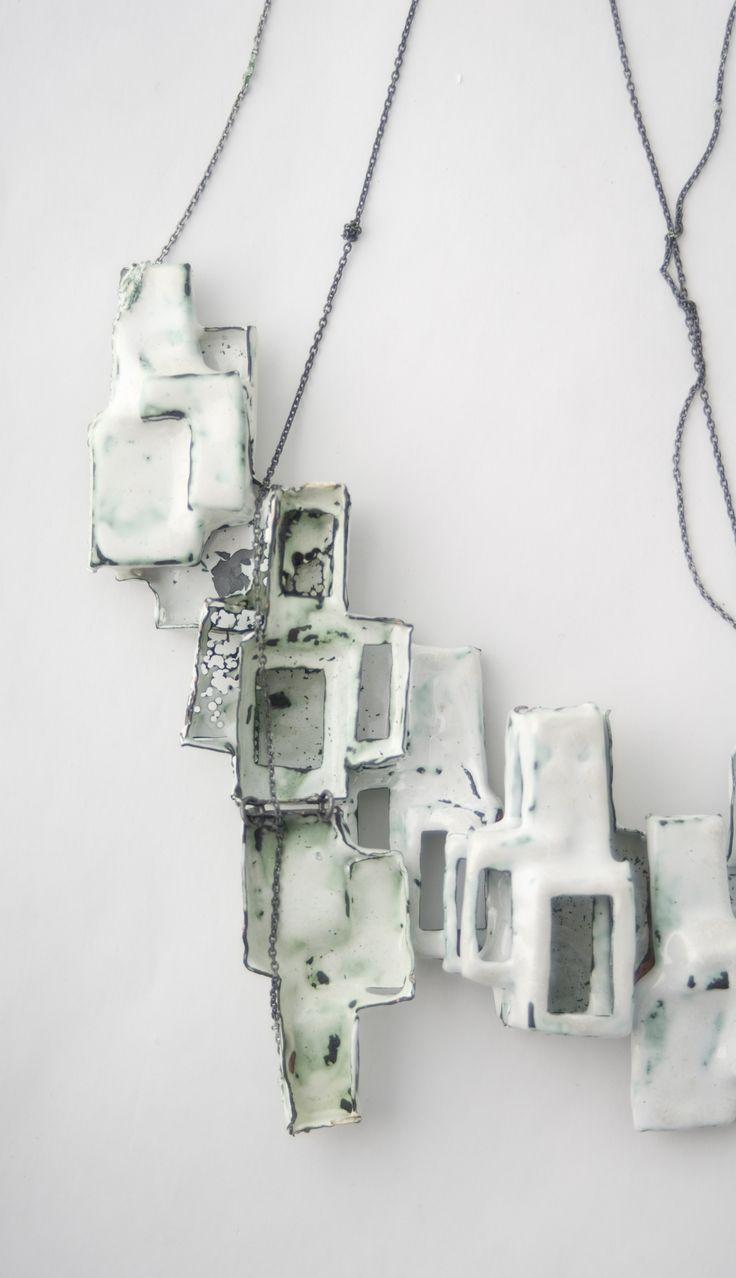 Longing beyond, necklace -  Susanne Forsström - silver, copper, enamel