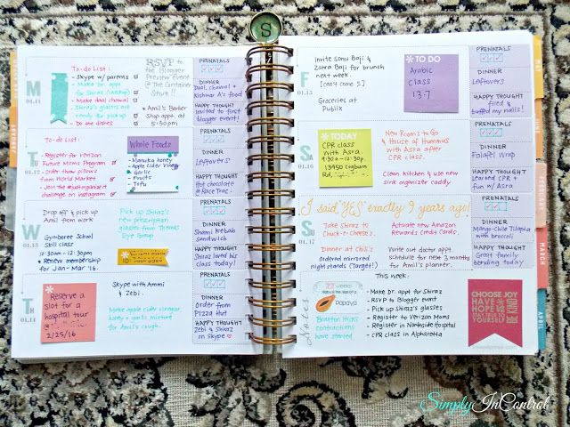 Inkwell Press Planner Review! Use sticky notes for plans that can change!  http://simply-in-control.blogspot.com