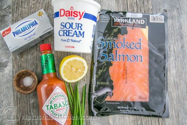 Ingredients for Smoked Salmon Dip: 8 oz cream cheese, room temperature 1/2 cup (4 oz) sour cream 1/2 Tbspfresh squeezed lemon juice 1/4 tsp salt or to taste 1/2 tsp tobasco hot sauce, or to taste 4oz smoked salmon, (about 1 cup chopped)** 1 Tbsp Chives, chopped plus more for garnish French Bread Baguette, sliced (to serve) **Note: Lox (as pictured) or hot-smoked salmon flakes work in this recipe