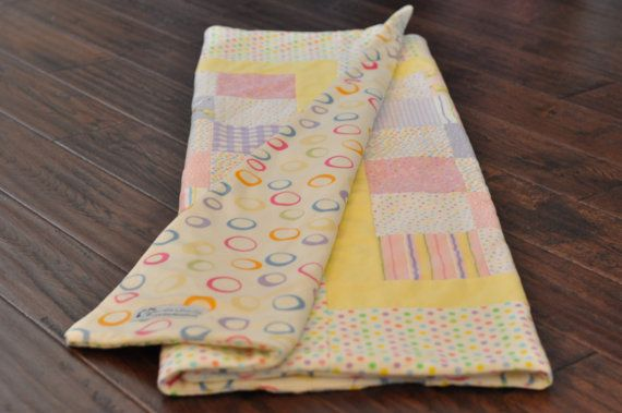 Pink, purple and yellow baby girl quilt with ducks. Pastels and soft flannel and minky. Pink and purple nursery. Duck nursery.