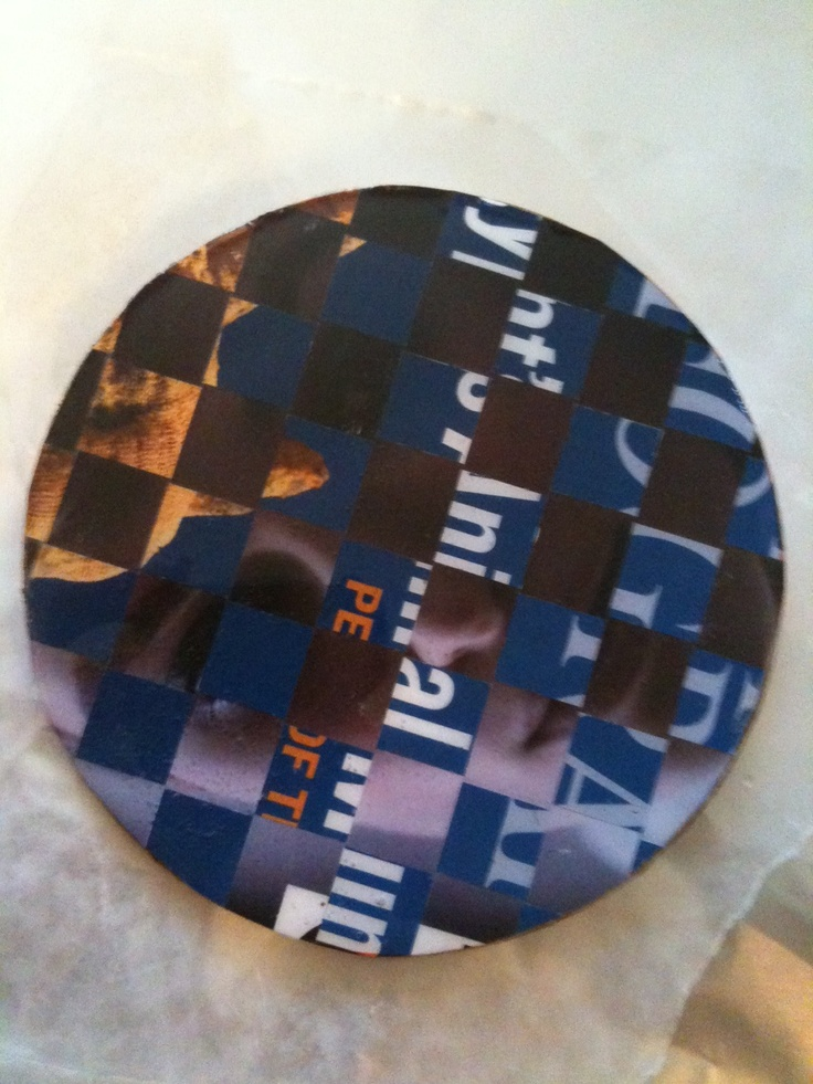 Woven magazine coaster. I wove the covers of VOGUE and National Geographic together... can you tell who it is! This one is the trickiest of the four! #coasters #diy