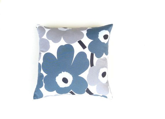 Marimekko Grey Poppy Cotton Cushion / Pillow Cover. by OnHighat5