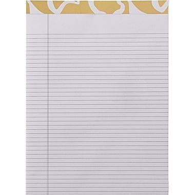 Keep your desk organized and attractive with this Gold and White Abstract Writing Pad from #Cynthia #Rowley. It adds a touch of glamour and flair to brighten up t...