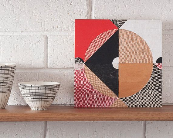 Reflection #2, original art abstract art symbolism geometric pattern lines texture copper monochrome red black and white triangles circle