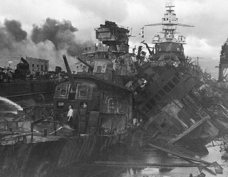 Heavy damage is seen on the destroyers USS Downes and USS Cassin, stationed at Pearl Harbor, after the Japanese attack on the Hawaiian island on December 7, 1941.