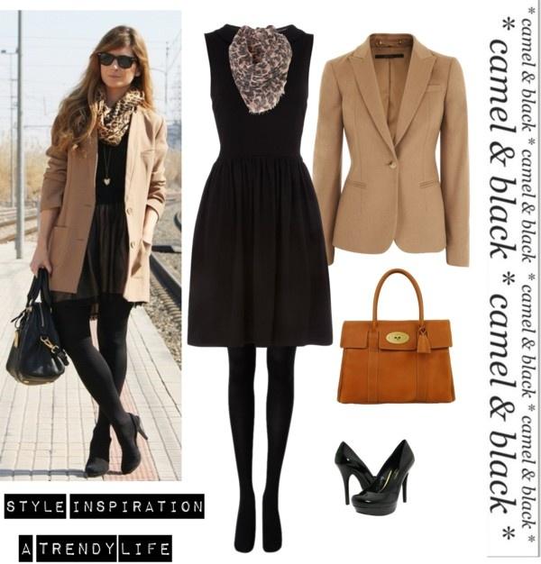 """Black dress & Camel blazer"" August 14th"