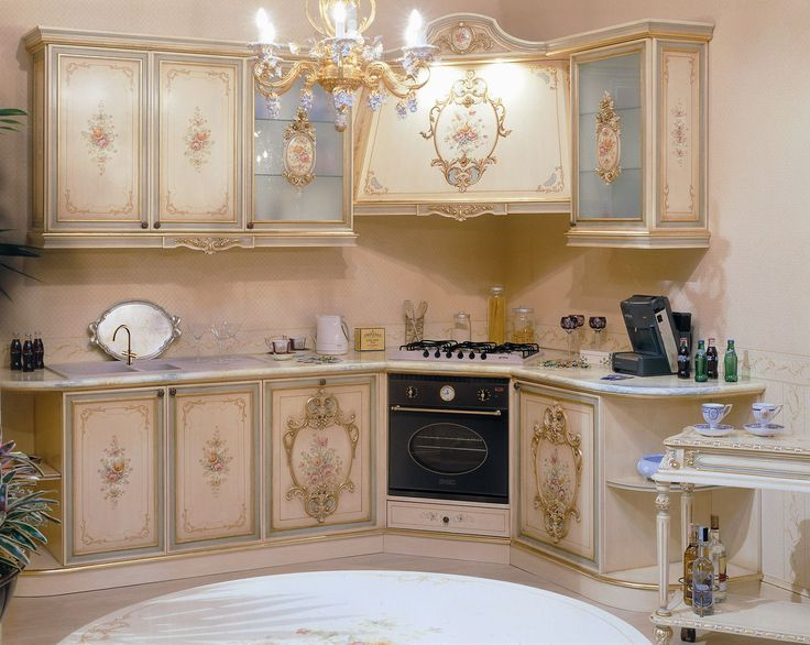beautiful hand painted kitchen cabinetry blue and pink flowers gold trim 1280
