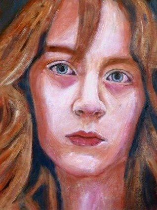 "Irish Saoirse Ronan came to the front as young Briony Tallis in ""Atonement"", acrylic on paper"