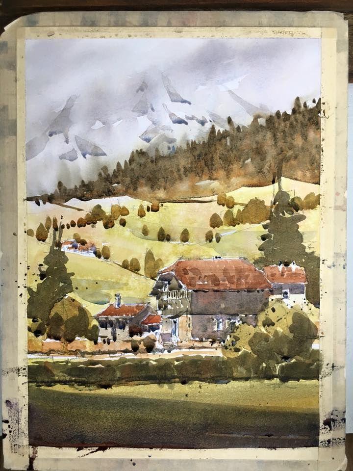 Iain Stewart Watercolors Combloux to Mt Blanc. Demo.