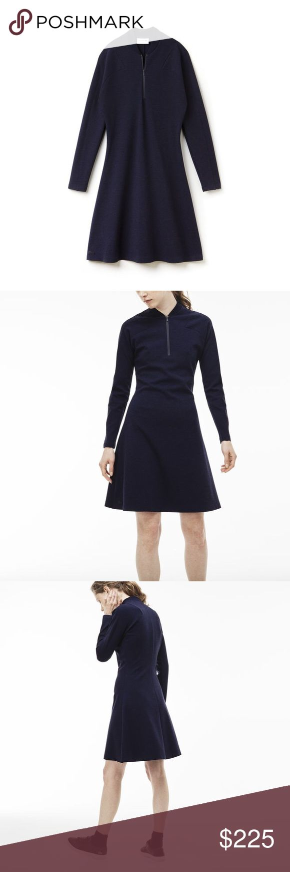 MILANO WOOL POLO DRESS in Marine color WOMEN'S MADE IN FRANCE ZIP NECK COLORBLOCK MILANO WOOL POLO DRESS EF7610-51 Inspired by the catwalk and made in France, this long polo dress in Milano wool features a bold zippered bomber neck. Colorblocks offer a crisp look.  Stretch wool blend Milano Bomber neck with contrast zipper Fitted at waist and slightly flared at bottom Colorblock Wool (100%) Lacoste Dresses Long Sleeve