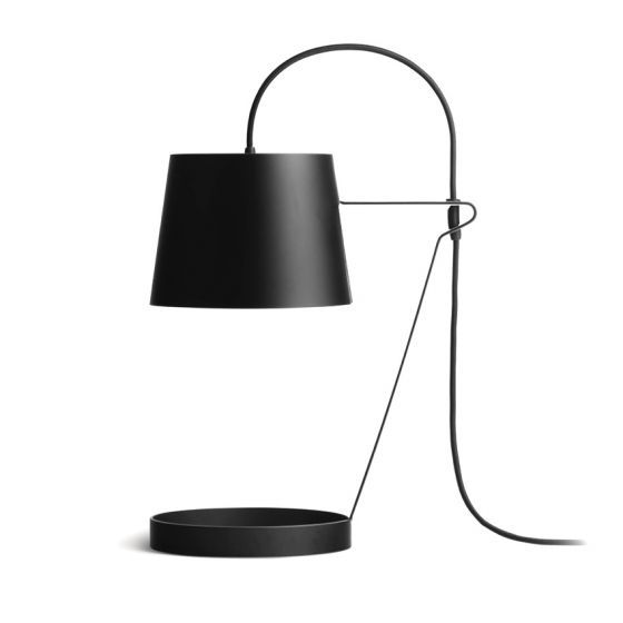 'Light' lamp by Aplin Creative | The curved lines of this steel lamp exudes both a both classic and contemporary look. It's a showpiece in itself that would fit comfortably in most interior themes. The base can also be used to store or display something. #lamp #tablelamp #linteriordesign #steellamp #lighting #homestation #minimalist #monochrome #storage