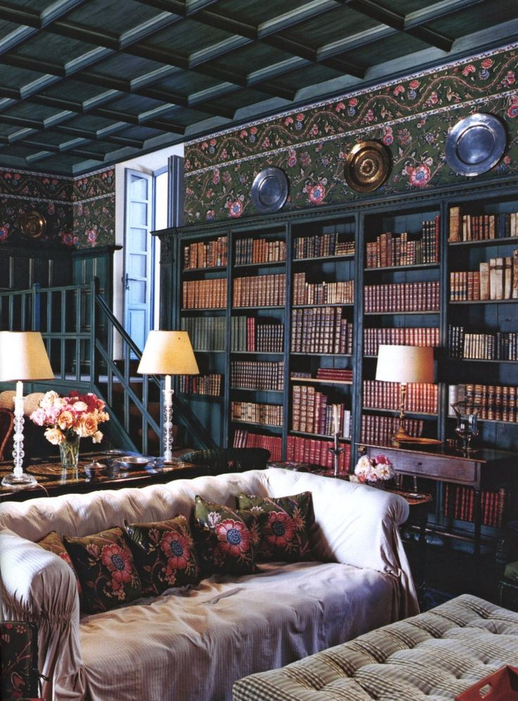 love the feature of stepping down into this library space; ceiling is nice as well ---- ECLECTIC CHIC | Mark D. Sikes: Chic People, Glamorous Places, Stylish Things