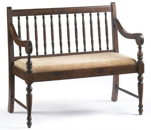 #Bernards walnut deacon's bench. Traditional deacon bench finished in warm pecan with turned post back, elegantly curved arms and upholstered in a wheat textured...
