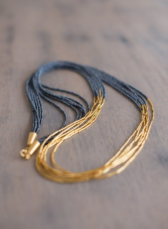 London Gun Metal and Gold Seed Bead Necklace, Seed Bead Jewelry, Long Beaded Necklace, Multi Strand Necklace, Gunmetal Necklace, Gold Bead