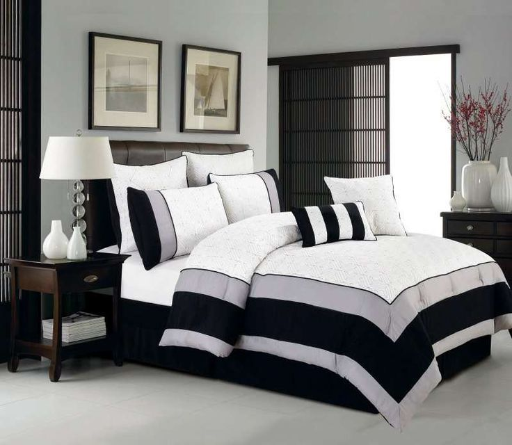 Duck River Textile Aspen Hotel White And Black 8Pc Oversized Comforter Set  From Bedding.com