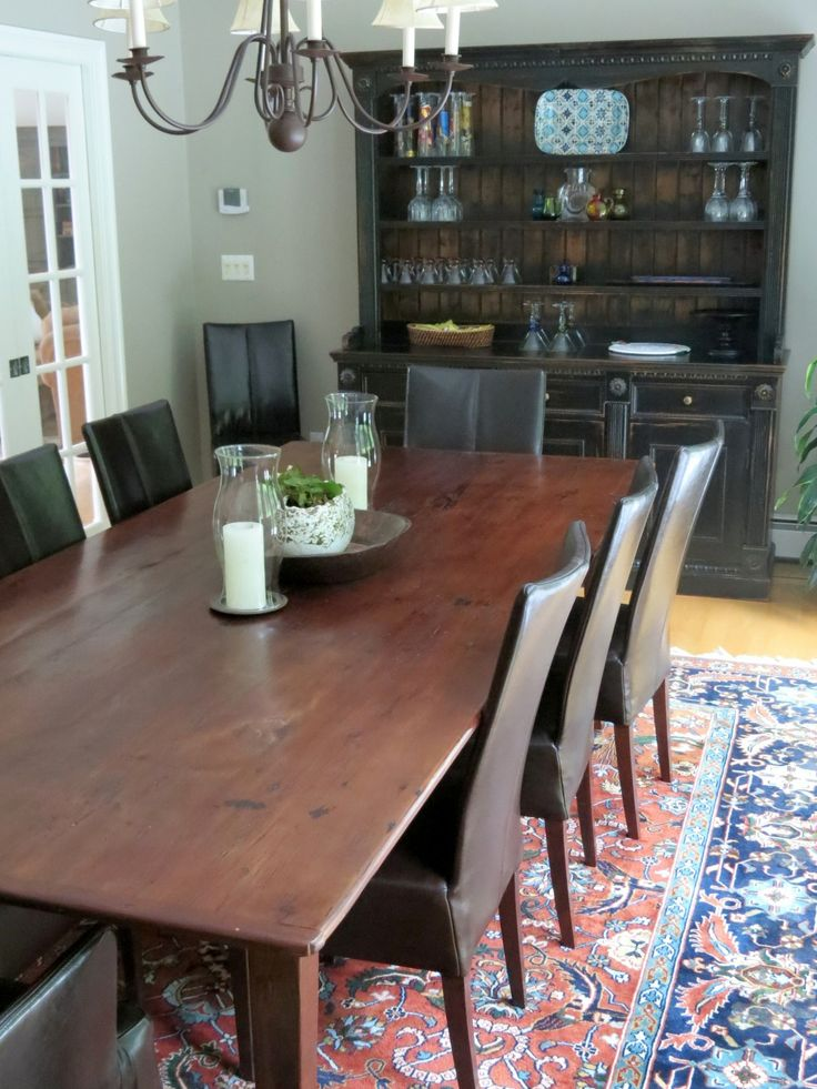 Gorgeous Farmhouse Dining Table Made From Reclaimed Wood And Custom Black Rustic Hutch