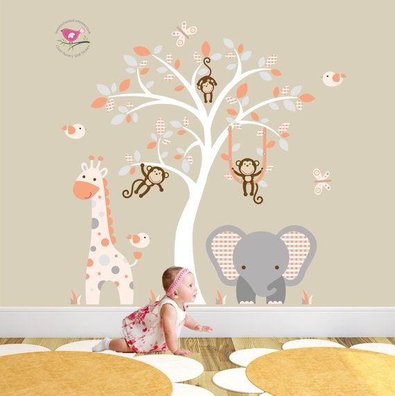 Best Jungle Animal Nursery Wall Sticker Decal Scenes Images - Nursery wall decals gender neutral