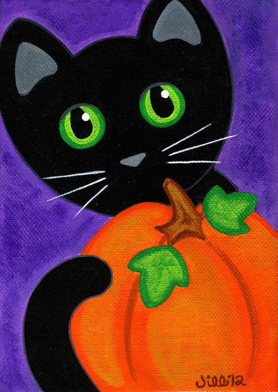 Original Canvas Folk Art PAINTING Black CAT & PUMPKIN Fall Halloween