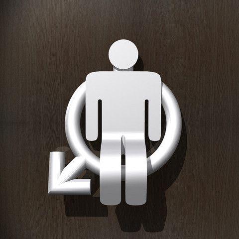 3D Panneau pour toilettes - Hommes, djgeenen