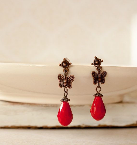 Crystal Glass Faceted Bead Earrings Red by BeautyfromashesUSA