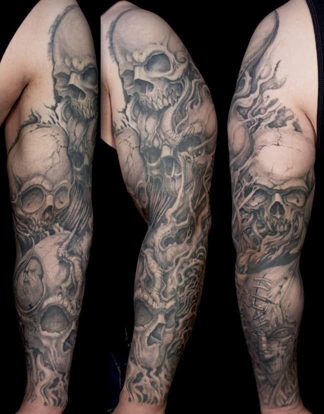skulls Tattoo sleeve.