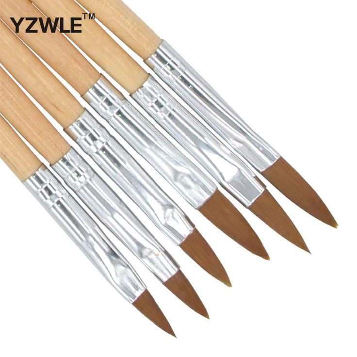 YZWLE 6PCS/Pack Wood Handle Nail Art Painting Drawing Pen Brush Set for Acrylic Nail UV Gel Manicure Beauty Tools Brushes 32