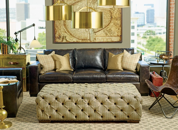 Love this! All the rugged leather is very Indiana Jones.: Interior Design, Decor, Living Rooms, Livingrooms, Leather Sofas, Room Ideas, Landing Pad, High Fashion, Homes