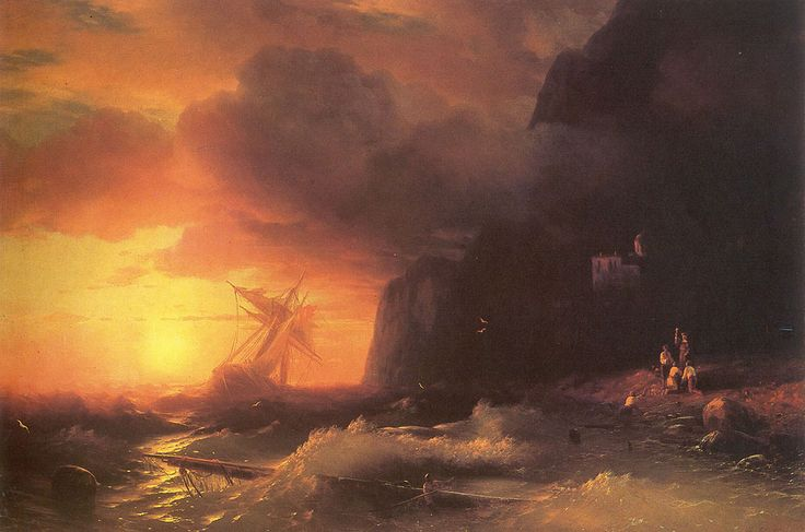 Ivan Konstantinovich Aivazovsky. The Shipwreck near mountain of Aphon. Buy this painting as premium quality canvas art print from Modarty Art Gallery. #art, #canvas, #design, #painting, #print, #poster, #decoration