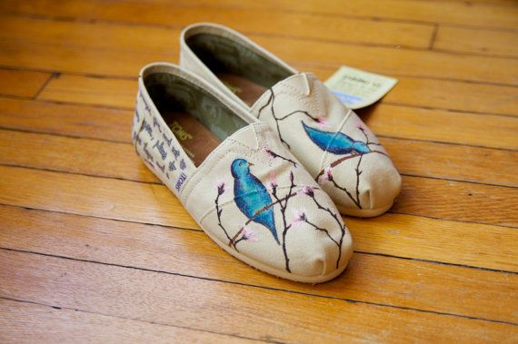 so cute!: Cherries Blossoms, Shoes Custom, Shoes Blue, Tom Shoes, Custom Toms, Toms Shoes, Sex Toys, Blue Birds, Cherry Blossoms