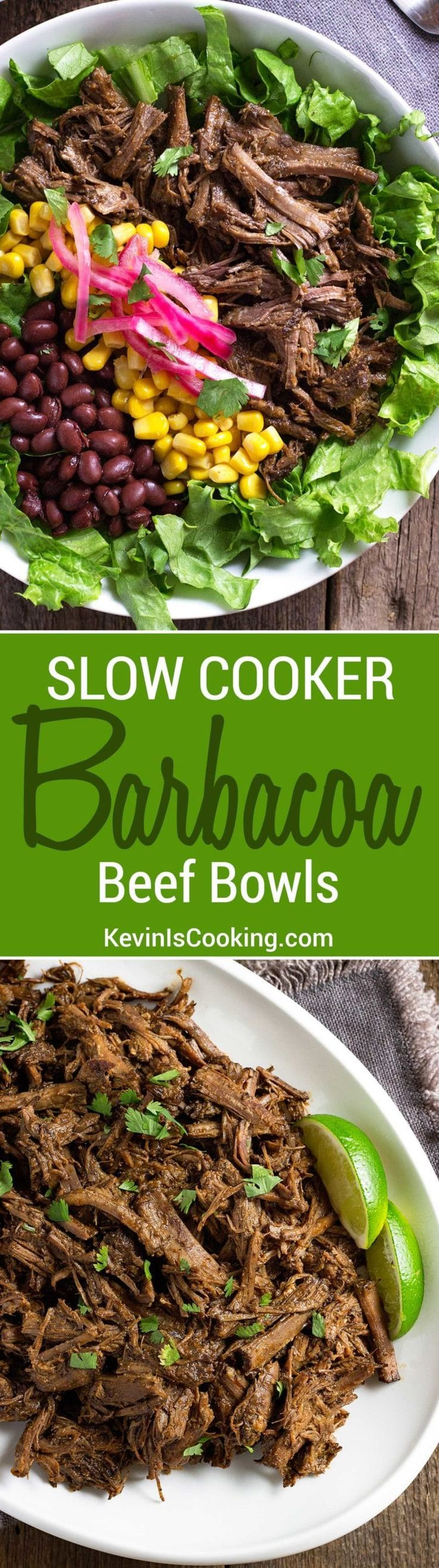 Barbacoa Beef Bowls - slow cooker beef simmered in chipotle, adobo, vinegar, citrus juice and spices for fall apart delicious shredded beef in salad or tacos. via @keviniscooking