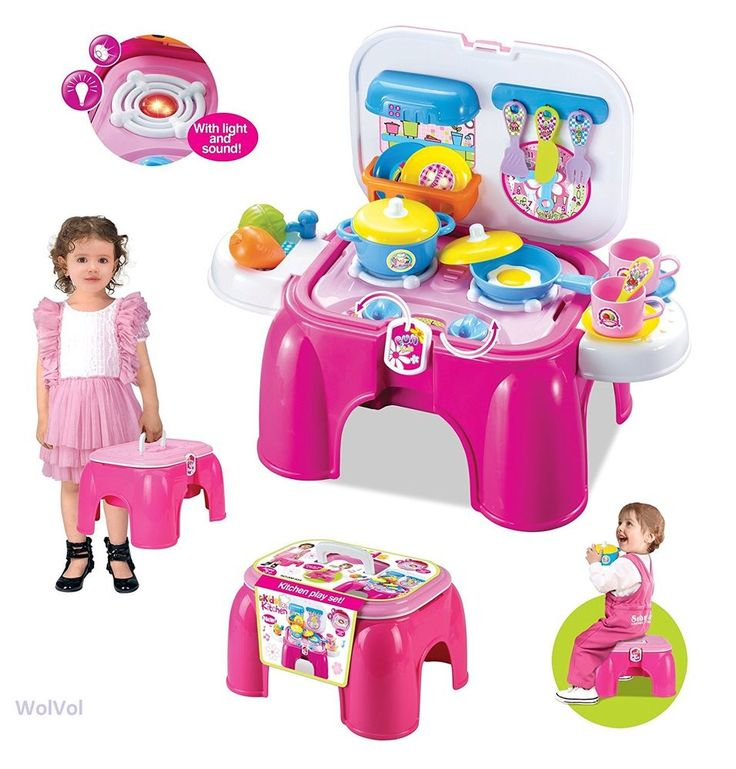 Kids Toddler Kitchen Set Pretend Fun Play Durable Plastic Cooking Food Toy Gift