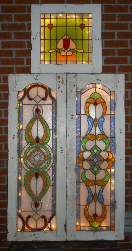 3 Antique Stained Glass Windows, Mounted On 2 X 4 Frame With Lights Behind  Them
