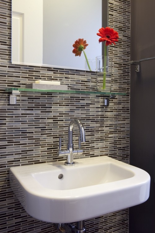 Tile On One Wall As A Focal Point. Wall Mounted Sink W/ Patterned Tile    Contemporary   Bathroom   San Francisco   Andre Rothblatt Architecture