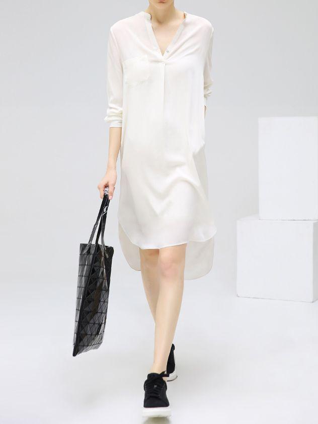 Белое асимметричное модное платье-рубашка