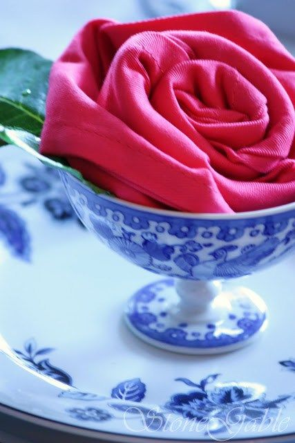 Rose Napkin Fold in Blue and White China. A beautiful place setting!