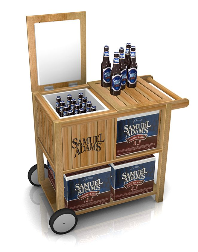 @SamuelAdamsBeer wanted a display to entice their customers which we did by creating this beer cooler with rolling casters and a counter top.  // #POPDisplay #SummerTime