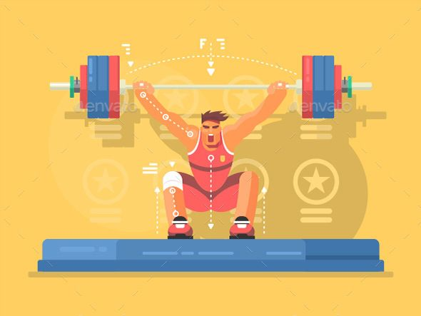 Weightlifting Competitions Flat Design