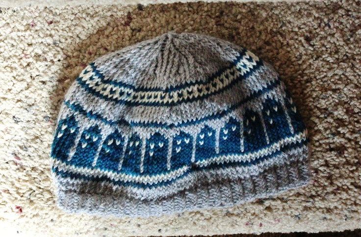 Knitting Pattern For Tardis Socks : Pattern- T.A.R.D.I.S. Slouch Beanie Doctor Who hat design
