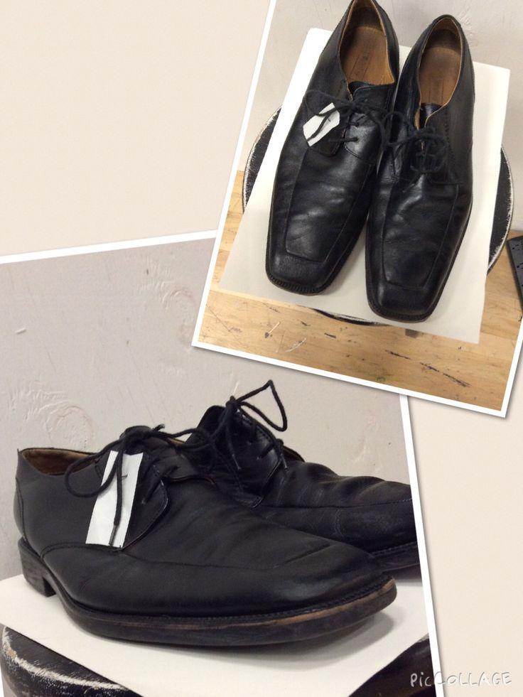 Men's size 12. Black dress. Leather.