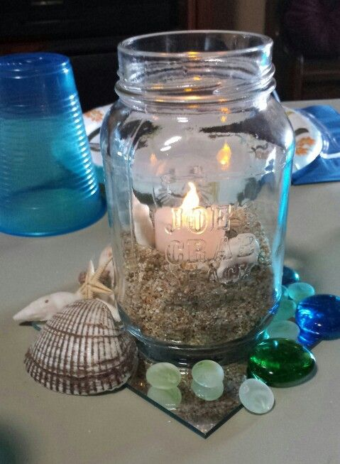 Ocean themed centerpiece baby shower pinterest jars for Decoration 4 life