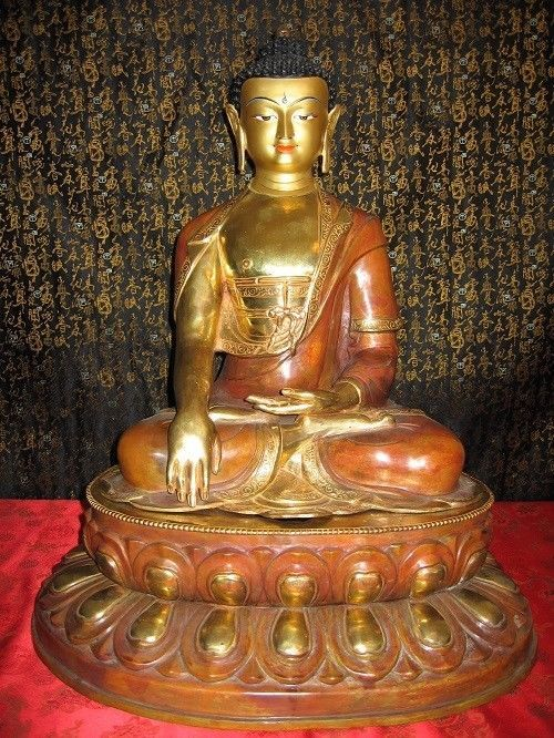 "22"" Shakyamuni Buddha Gold Gilded Face Painted Copper Statue Tibetan Style Nepal"