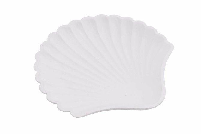 Beside The Seaside Nautical White Resin Clam Scallop Sea Shell Trinket Dish